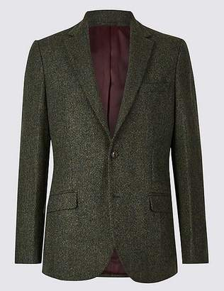 Marks and Spencer Pure Wool Textured Tailored Fit Jacket