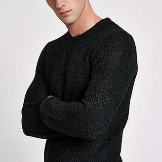 River Island Green knit slim fit crew neck sweater