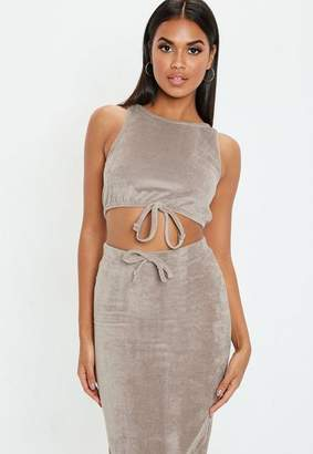 Missguided Taupe Velvet Sleeveless Crop Top