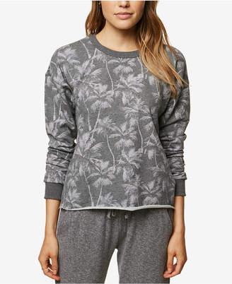 O'Neill Juniors' Palm-Print Fleece-Lined Sweatshirt