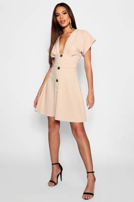 boohoo Tall Horn Button Plunge Front Skater Dress