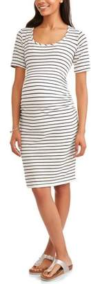 Oh! Mamma Maternity Short Sleeve Stripe Dress with Flattering Side Ruching-- Available In Plus Sizes
