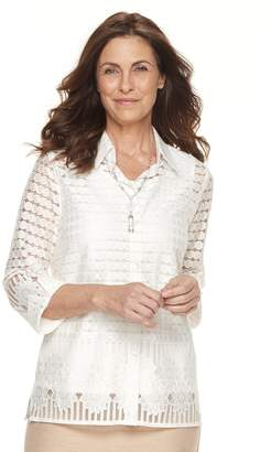 Alfred Dunner Women's Studio 3-pc. Sheer Blouse & Necklace Set