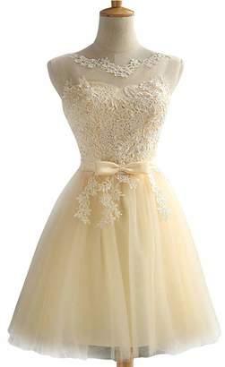 EileenDor Women's Lace Appliques Junior Dresses A Line Tulle Corset Short Prom Dress