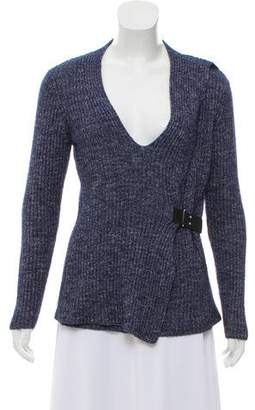 MICHAEL Michael Kors Leather-Trimmed Rib Knit Sweater