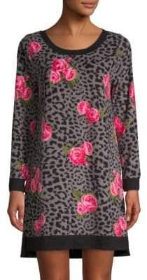 Betsey Johnson Floral Long-Sleeve Sleepshirt