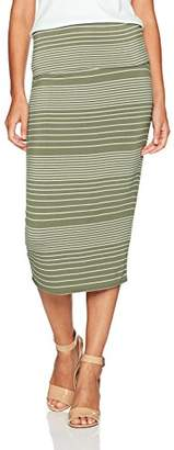 Max Studio Women's Stripe Roll Over Midi Skirt