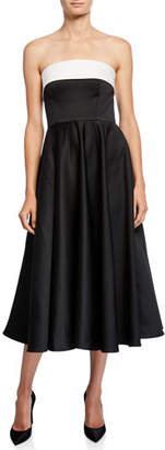 Jay Godfrey Bicolor Colorblock Strapless Cuffed Bustier Midi Dress