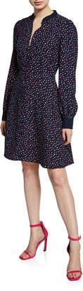 Kate Spade Lips Long-Sleeve Crepe Dress