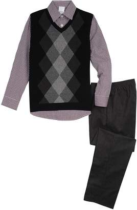 Van Heusen Boys 5-10 Argyle Sweater Vest 3-Piece Set