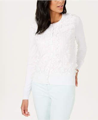 Charter Club Floral-Appliqué Faux-Pearl-Button Cardigan, Created for Macy's