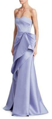 Badgley Mischka Mikado Ruffle Gown