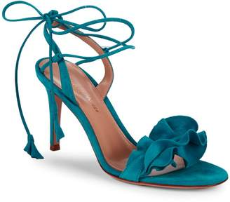Gianvito Rossi Ruffle Suede Ankle-Wrap Sandals