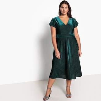 d2e951825558 at La Redoute · CASTALUNA PLUS SIZE Ruffled Metallic Velour Midi Dress