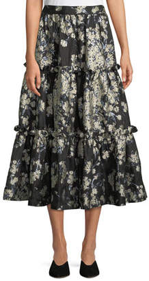 Co Metallic Floral-Brocade Tiered Evening Skirt