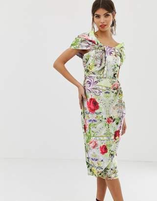 Asos Design DESIGN Structured Twist Pencil Midi Dress In Postcard Print