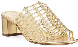 Mansur Gavriel Grid Metallic Leather Cutout Block-Heel Mule Slide Sandals