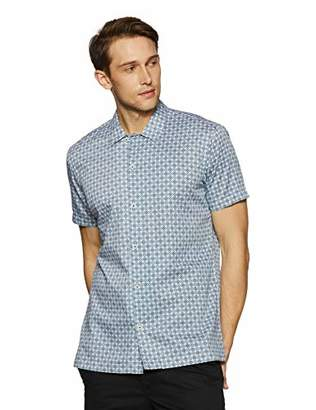 Casual Terrains Men's Classic-Fit Short-Sleeve Printed Camp Collar Shirt