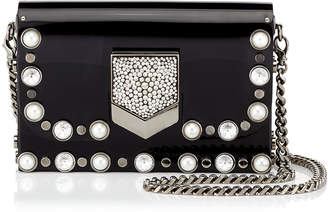 Jimmy Choo LOCKETT MINAUDIERE/S Black Acrylic Clutch Bag with Beads and Crystals