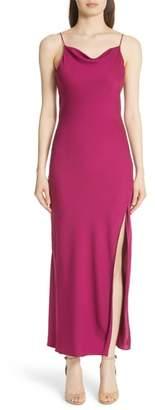 Theory Draped Back Silk Maxi Dress