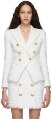 Balmain White Tweed Blazer