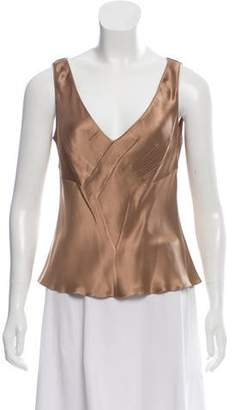 John Galliano Sleeveless V-Neck Top