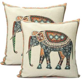 """Generic 2 Pack Elephant Pillow Cushion Cover Indian Knitted Cotton Linen Pillow Case Pillowslip Pillow Protector Cover 16.5""""x16.5"""""""