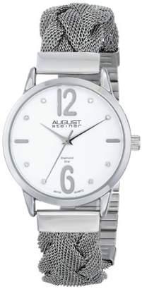August Steiner Women's AS8092WT Swiss Quartz Diamond Accent White Dial Stainless Steel Braided Mesh Bracelet Watch