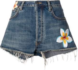Alanui flower patch denim shorts