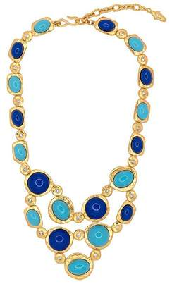 Kenneth Jay Lane Gold, Lapis Turquoise Statement Necklace