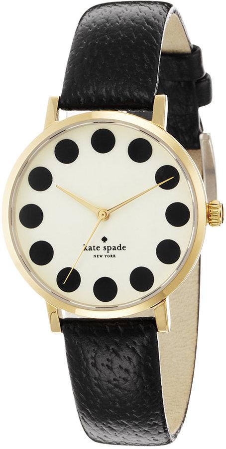Kate Spadekate spade new york Watch, Women's Metro Black Leather Strap 34mm 1YRU0107