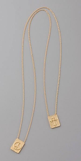 Jacquie Aiche Peace & Cross Scapular Necklace