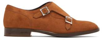 Jimmy Choo Tate Double Monk Strap Suede Shoes - Mens - Brown