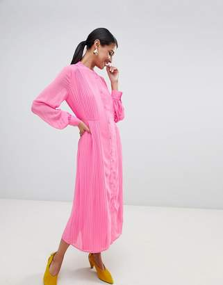 Warehouse pleated shirt dress in pink