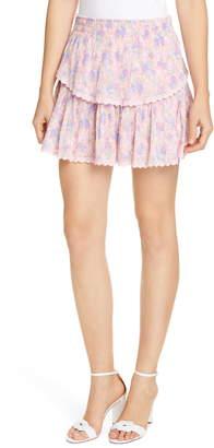 LoveShackFancy Floral Ruffle Miniskirt