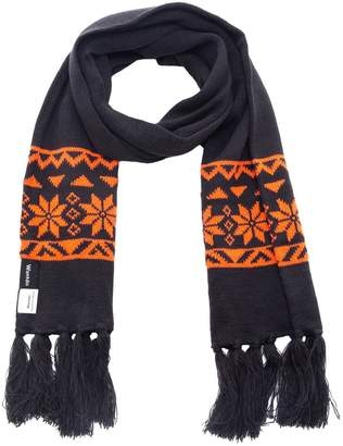 Fashionable Wantdo Men's Knitted Scarf Winter Warm Crochet Snowflake Pattern Scarf with Tassel Anthracite & Orange