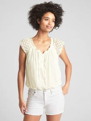 Gap Short Sleeve Crochet Lace-Up Blouse