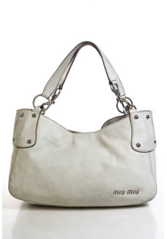 Miu Miu MIU MIU Ivory Leather Silver Tone Double Handle Shoulder Bag Handbag
