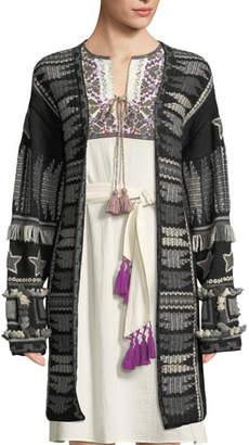 Figue Talaya Open-Front Intarsia Wool Cardigan w/ Fringe & Tassel Trim