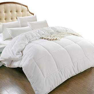 All Season King Goose Down Alternative Quilted Comforter with Corner Tabs - Hypoallergenic -Double Plush Fabric -Super Microfiber Fill -Machine Washable - Duvet Insert & Stand-Alone Comforter - White
