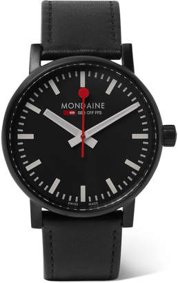Mondaine EV02 Brushed Stainless Steel and Leather Watch