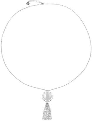 Liz Claiborne Womens White Flower Pendant Necklace