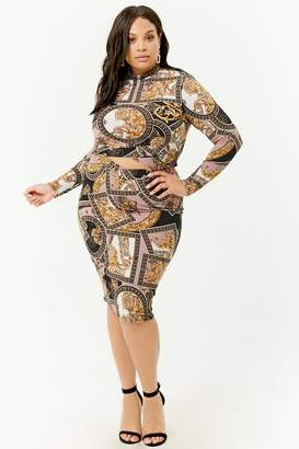 Forever 21 Plus Size Baroque Print Crop Top & Skirt Set