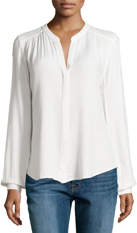 Three Dots Three Dots Long-Sleeve Gathered Blouse, Gardenia