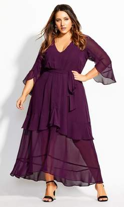 City Chic Romantic Ruffle Maxi Dress - mulberry