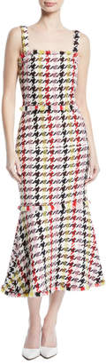 Oscar de la Renta Square-Neck Check-Tweed Trumpet Wool-Blend Dress w/ Fringe Hem