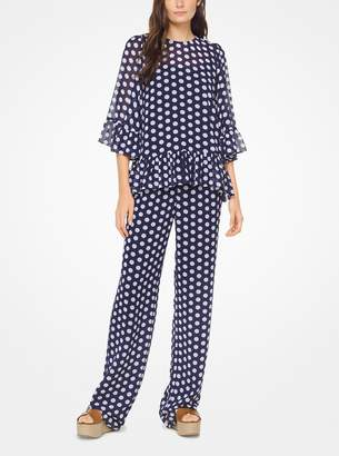 MICHAEL Michael Kors Ruffled Polka Dot Georgette Top