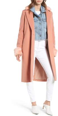 WAYF Perry Faux Fur Trim Coat
