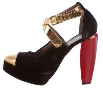 Marni Velvet Ankle Strap Pumps