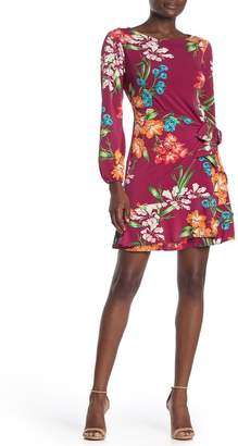ECI Floral Balloon Sleeve Wrap Dress